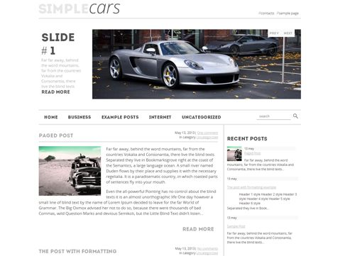 SimpleCars is excellent solution for site about cars. This WordPress theme supports and comes with custom widgets, drop-down menus, javascript slideshow and lots of other useful features.