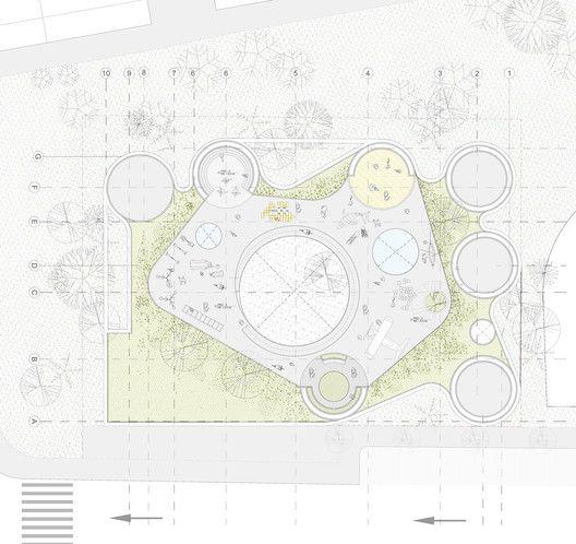 FP Arquitectura, primer lugar en concurso Ambientes de Aprendizaje del siglo XXI: Jardín Infantil Tibabuyes,Planta de cubierta