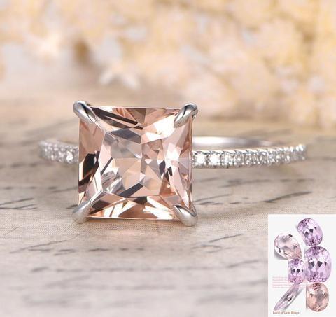 Princess Morganite Engagement Ring Pave Diamond Wedding 14K White Gold 8mm - Lord of Gem Rings - 1