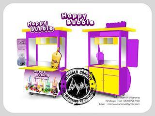 Desain Logo | Logo Kuliner |  Desain Gerobak | Jasa Desain dan Produksi Gerobak | Branding: Desain Gerobak Happy Bubble