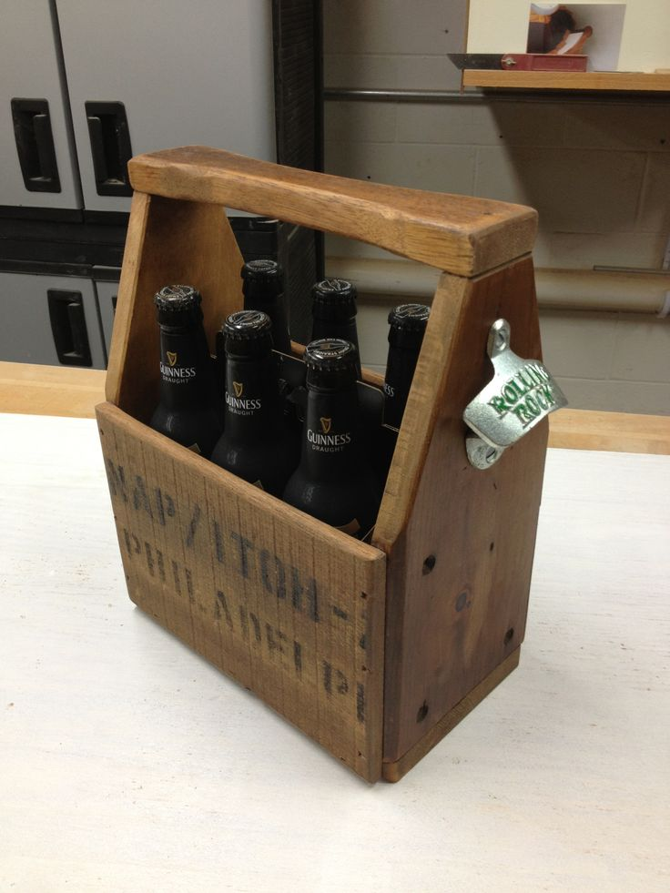 packing crate furniture. made this retro styled 6 pack beer carrier from salvaged packing crate material furniture