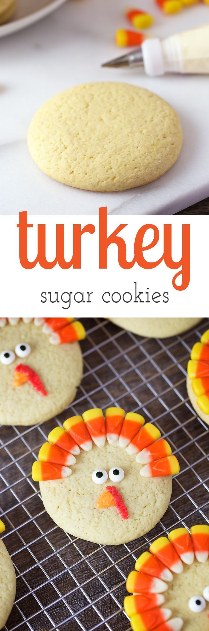 Turkey Sugar Cookies are a playful dessert for Thanksgiving. They are fun to make for parties, lunch boxes, and play dates. via @https://www.pinterest.com/fireflymudpie/