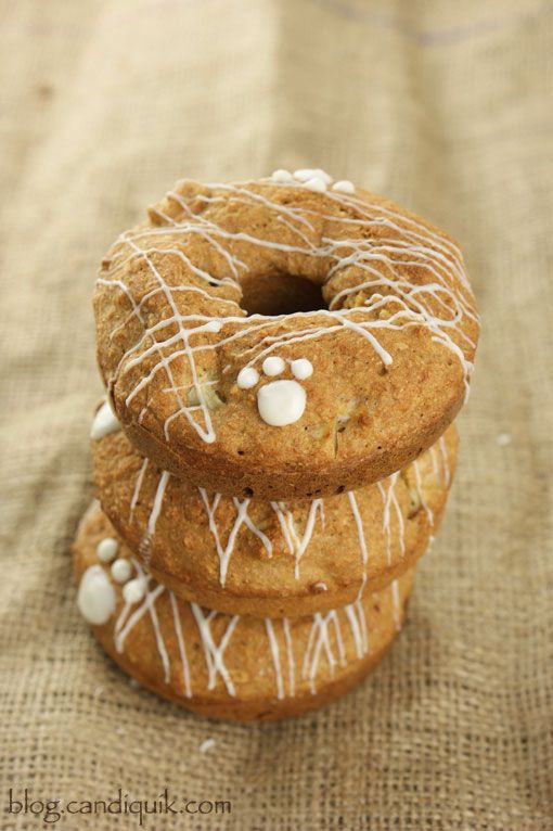 Apple Crunch Pupcakes (or donuts)!!  *A homemade cupcake for your dog, also known as a pupcake! Treat your four-legged friends to a dog safe treat that they are sure to love! @Melissa Henson CandiQuik