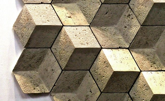 The tiles fit together to create a visually stunning display of endless geometry.  Each hexagon has three rhombus-shaped surfaces. Different overall patterns can be obtained when installing the 2 models: one carved and the other convex - in a random or regular configuration. Exciton tiles may be used on interiors and exteriors and are not affected by UV radiation or freeze-thaw cycles. They are resistant to the absorption of water, and do not require regular maintenance.