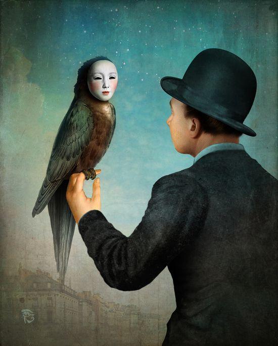 фото человек с птицей картины как натяжной