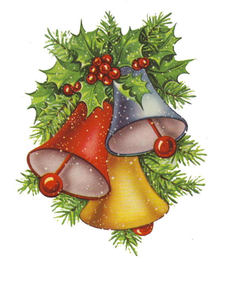 CHRISTMAS HOLLY AND BELLS CLIP ART