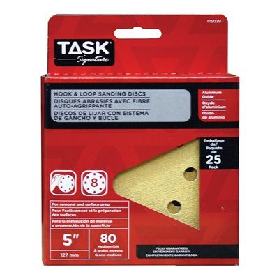 Task Tools T15029 Signature 8 Hole Hook and Loop 80 Grit Disc (25 Pack)