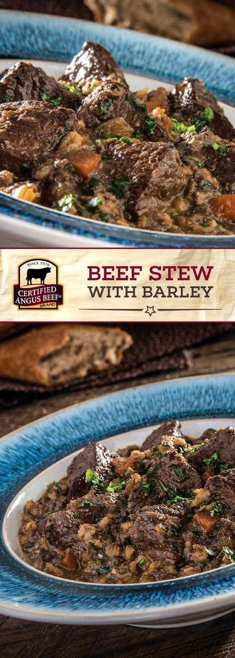 The Certified Angus Beef ®️ brand Beef Stew with Barley is made with the BEST sirloin tip, stewed with barley and other FRESH flavors! The addition of mushrooms, spinach, garlic, tomato paste, thyme and oregano diced and cooked with the beef in white wine and beef stock makes this stew recipe STAND OUT! #bestangusbeef #certifiedangusbeef #beefrecipe #stewrecipe