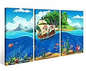 Piratenzimmer: Süsses 3 Teiliges Wandbild Mit Piraten Motiv | Tolle Deko  Für Das Kinderzimmer