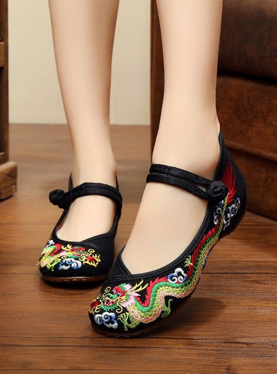 Dragon embroidered Asian inspired cotton linen shoes for women