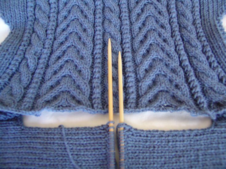 #1001 Cardigan. More Beautiful in Blue! www.knittingstation.com
