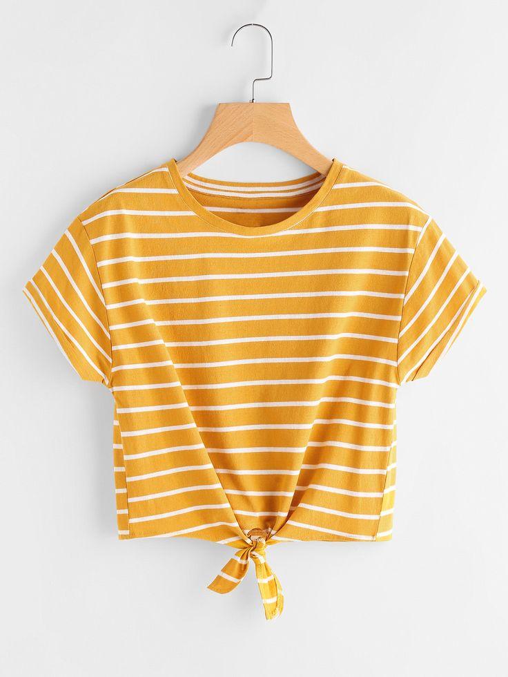 Camiseta de rayas con nudo en la parte delantera -Spanish SheIn(Sheinside)