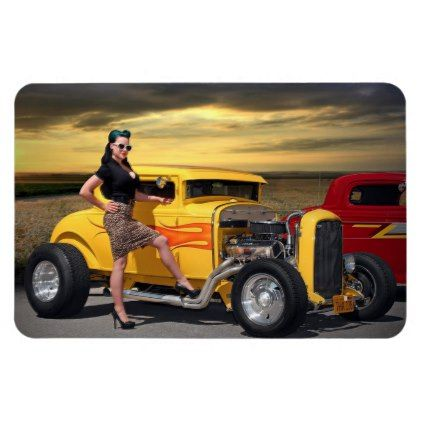 Sunset Graffiti Hot Rod Coupe Pin Up Car Girl Magnet - girl gifts special unique diy gift idea