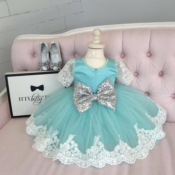 Princess Julia Dress (Mint & Silver) - Baby Shop Online