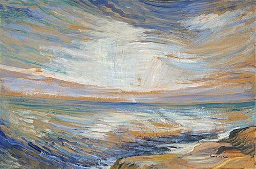 Emily Carr, Strait of Juan de Fuca, detail, ca.1936, Oil on wove paper, mounted on plywood, 57.5 x 87.0cm, National Gallery of Canada