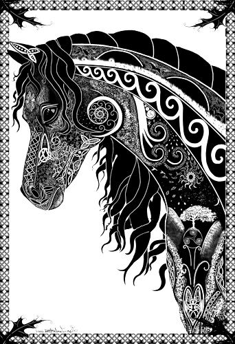 ➳➳➳☮ American Hippie Art ~ Zentangle Coloring Page .. Horse