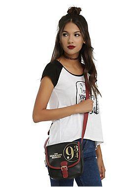 "<p>Black faux leather crossbody bag from <i>Harry Potter</i> with a Hogwarts Express themed design. Magnetic closure. Adjustable strap.</p>  <p>Hot Topic exclusive!</p>  <ul> <li>7 1/2"" x 7 1/2""</li> <li>90% PU; 10% polyester</li> <li>Imported</li> </ul>"