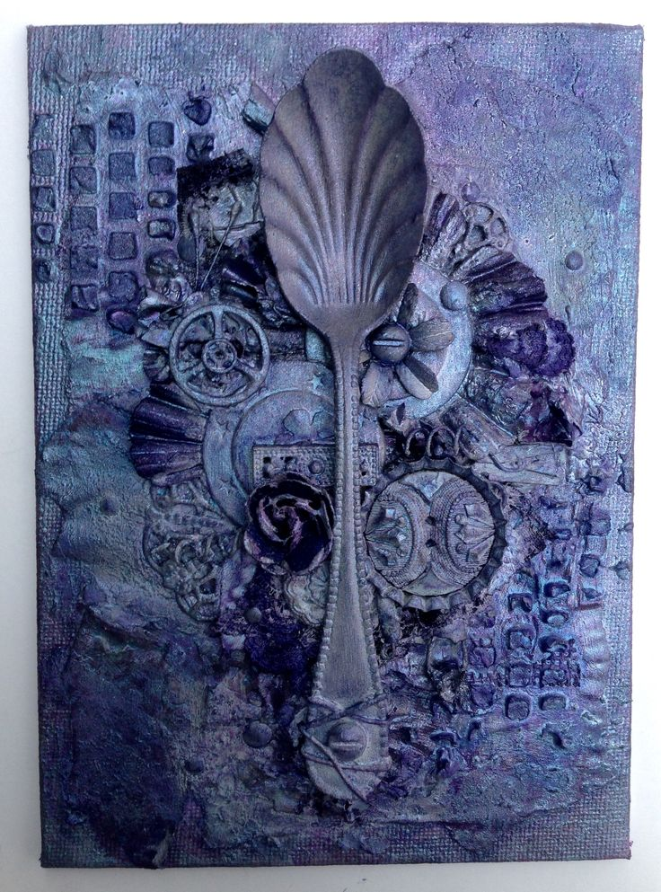 Mixed media spoon canvas 2 @isblueart @createcraftau
