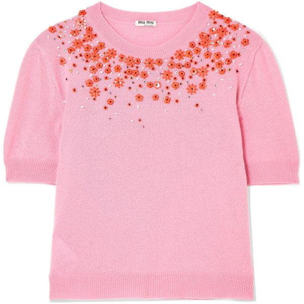 Miu Miu Embellished cashmere sweater (4 940 PLN) ❤ liked on Polyvore featuring tops, sweaters, pink, beaded sweater, pink sequin top, pink sequin sweater, sparkly sequin top and sequin beaded top