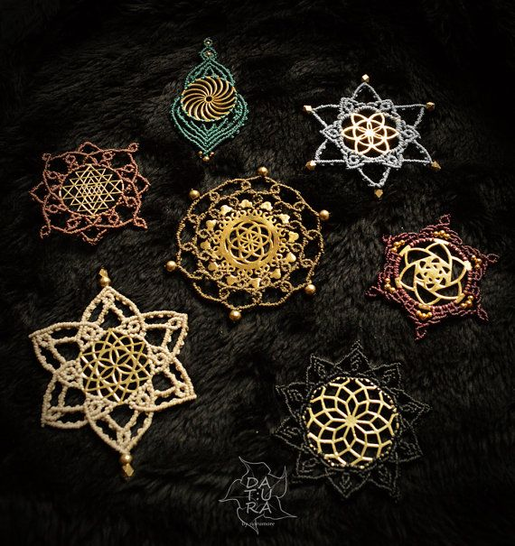 Sacred geometry mandala macrame patches. Appliques by DaturaNatura