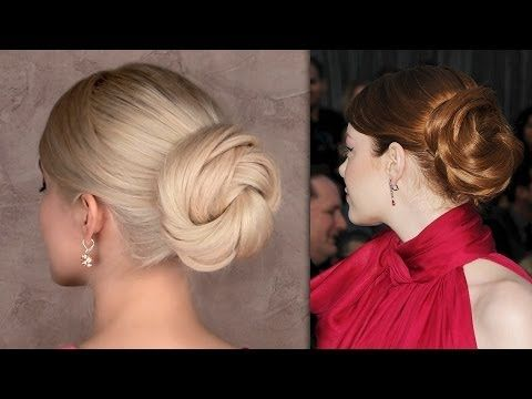 ▶ Emma Stone Oscars hair tutorial: easy red carpet updo hairstyle for long hair : magnifique !!