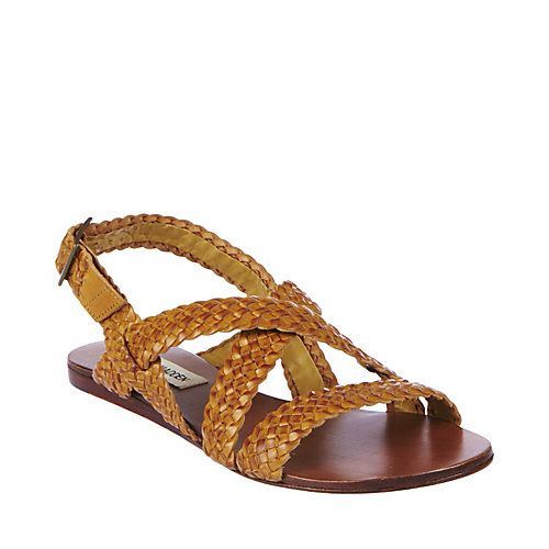 SPIRAL COGNAC LEATHER women's sandal flat strappy - Steve Madden