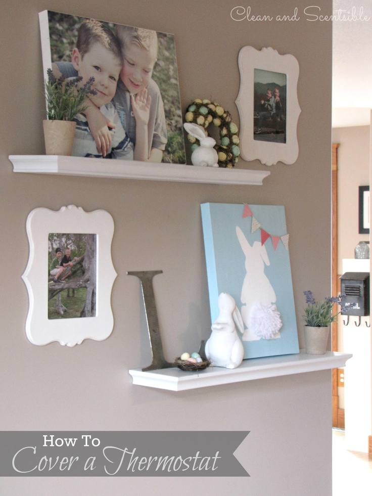 Idea for covering up thermostat on the wall...use shelving and canvas prints!