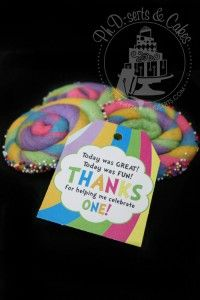 Rainbow pinwheel cookie favors for an Oh the Places You'll Go party.