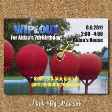 WipeOut Birthday party invitation