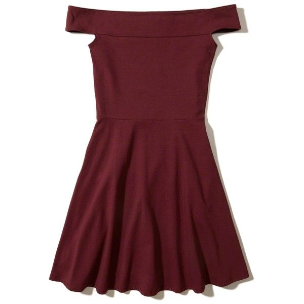 Hollister Knit Off-The-Shoulder Dress ($40) ❤ liked on Polyvore featuring dresses, burgundy, off shoulder skater dress, burgundy dress, knit dress, hollister co dresses and red knit dress
