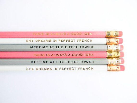 De Parijs collectie potloden - Pastel roze, grijs en wit, set van 6