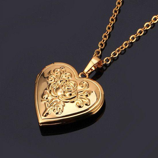 Valentine's Gift 18K Gold/Platinum Plated Heart Locket Necklace