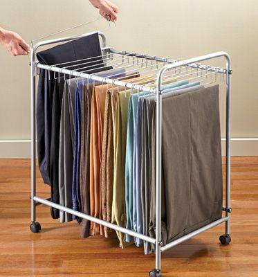 Rolling Organizer Rack for 18 Pants/Slacks
