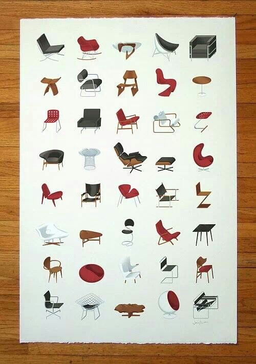 Midcentury Modern Furniture Poster These Are The Iconic Sculptural Shapes  Of Pieces Of The With Famous Modern Designers.