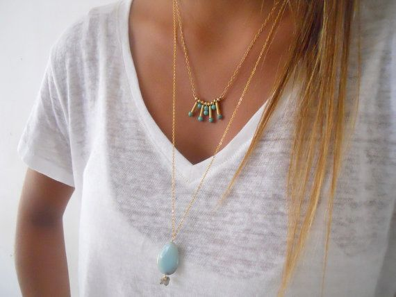 Amazonite and Gold Necklace Long Gold Necklace Boho by annikabella