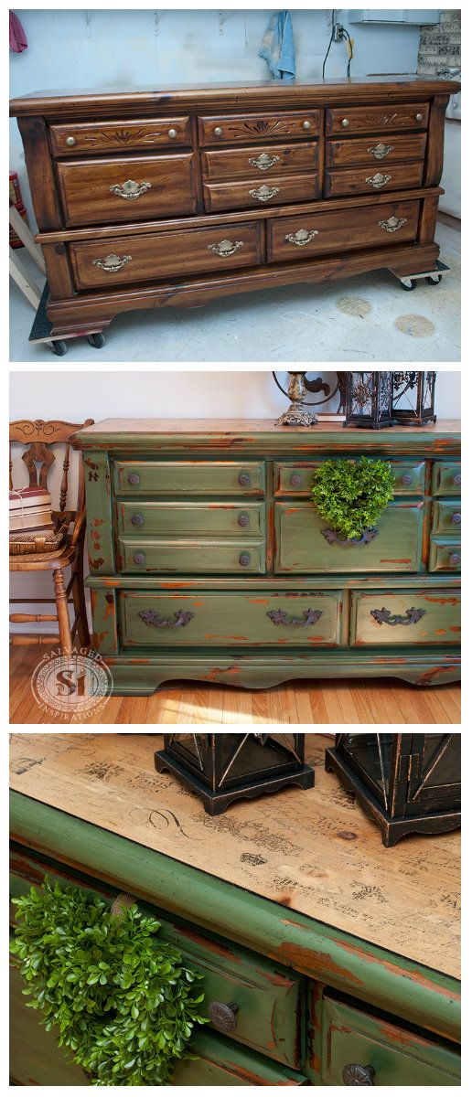 A solution to that Old 80's Dresser you don't know what to do with. Here's an amazing before and after using paint and tissue paper!