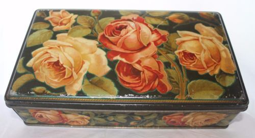 Rare-Antique-1920-039-s-Advertising-WAMAR-Italian-Biscuits-Tin-Flowers-Roses