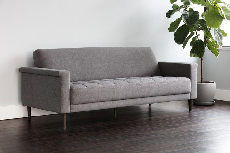 CODY SOFA - Dark grey fabric, distressed walnut frame in mid-century modern style. Designed by Glen Peloso.
