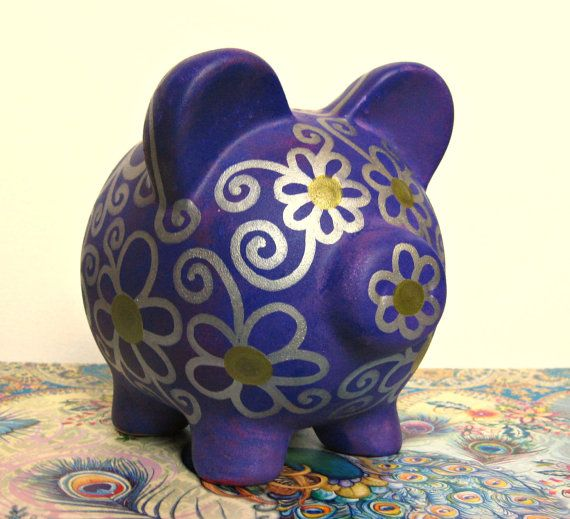 Hand Painted Piggy Bank Purple Pink Silver Gold by ChangingVases, $15.00