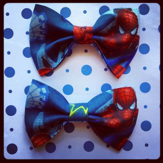 Marvel Comics Spiderman print handmade bowtie or hairbow  by Bowliciousdivas, $5.00