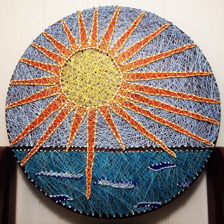 Sun string art diy beach waves sun