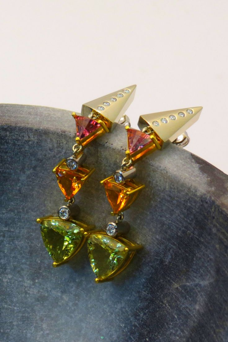 How fun are these diamond and gem earrings! Created exclusively at Wong Ken's.