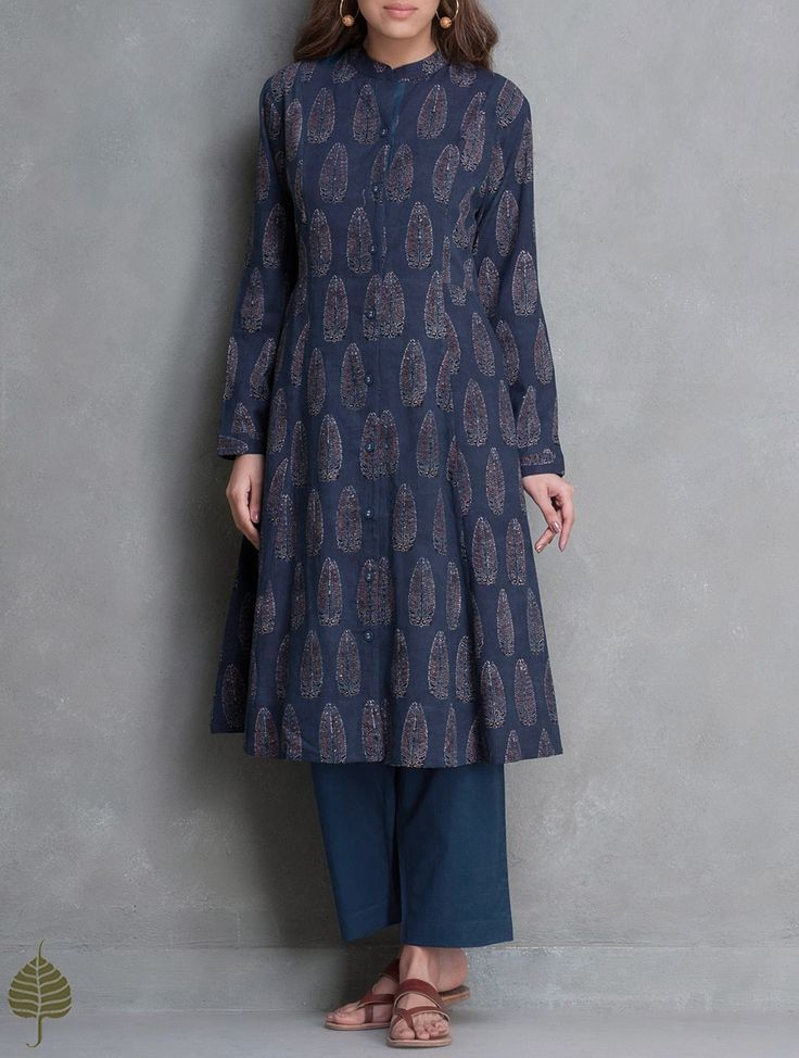 Buy Indigo Black Madder Ajrakh Printed Cotton Kurta with Pockets by Jaypore Apparel Tunics & Kurtas Online at http://Jaypore.com