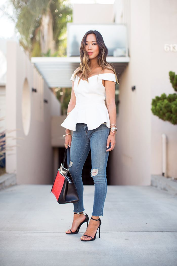 Song of Style | Cameo Off The Shoulder Bustier; J Brand Mid Rise Destructed Cropped Jeans; Jennifer Zeuner Necklace; Saint Laurent Jane Sandals; Celine Edge Bag; Kelly Wearstler Purist Cuff; Tiffany & Co. Atlas Bangle