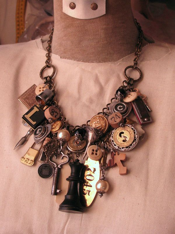 RESERVED - Upcycled Jewelry - Mixed Media Loaded Assemblage Statement Necklace. $275.00, via Etsy.  By Key of A on etsy.  Wonderful piece!