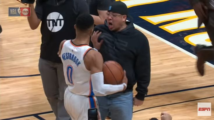 Russell Westbrook Shoves Fan For Getting In His Face