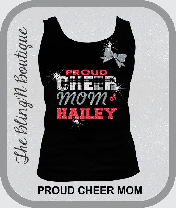 Proud Cheer Mom Bling and Glitter Tank Top Top, Mom Cheer Bling Shirts, Bling Tank Tops on Etsy, $27.99