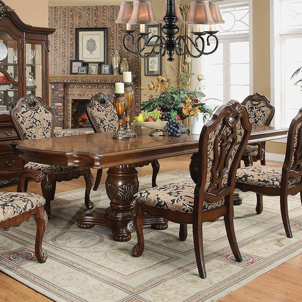 Crown Mark Neo Renaissance Double Pedestal Dining Table: Furniture Of America Mallory Formal Cherry Expandable
