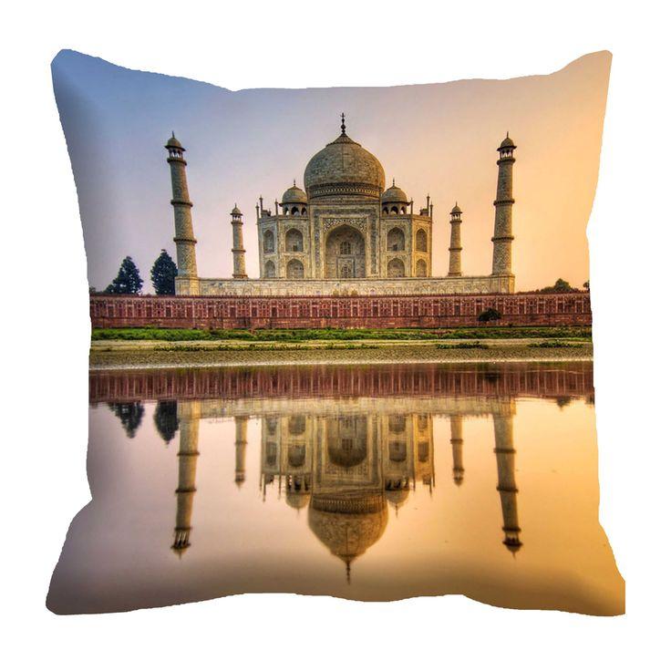 Taj Mahal Of India Cushion Covers Digitally Printed-7 Wonder Of The World Series (16x16)  #cushions #cushioncovers #pinit #pinterset #shazliving #interior #homedecor Shop at: https://www.shazliving.com/
