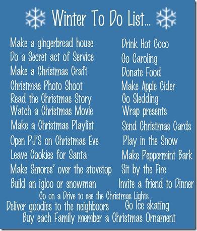 Winter to do List
